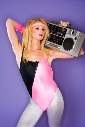 crimped hair, leotard, and ghetto blaster = all 80's