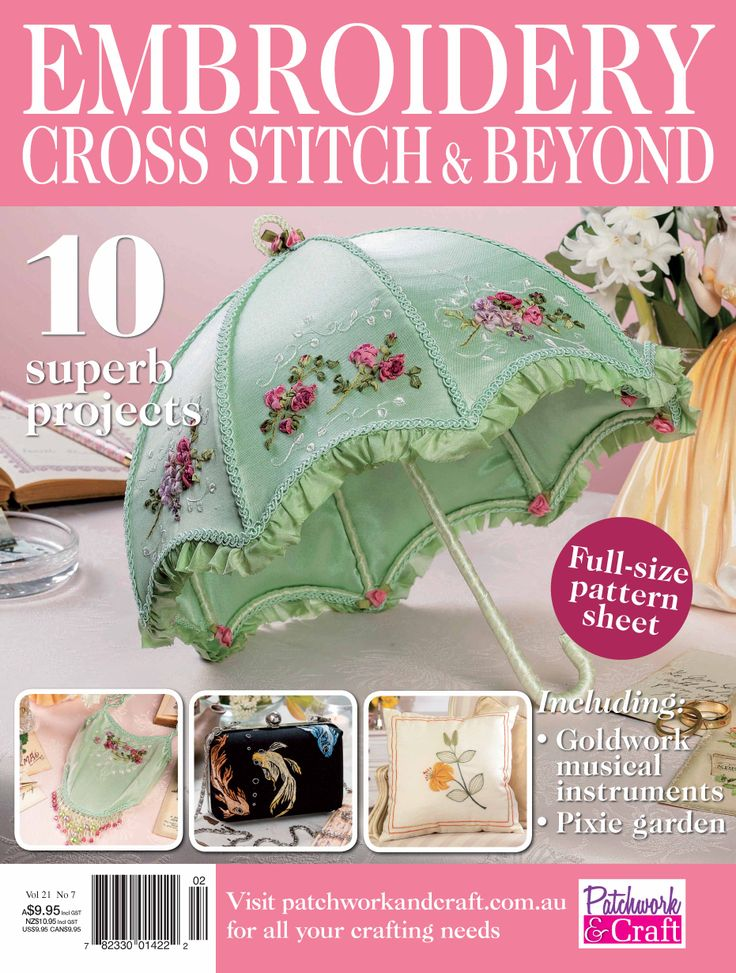 Embroidery, Cross Stitch & Beyond - Volume 21 No. 7. Australia's premiere embroidery magazine featuring insightful profiles, embroidery events around of Australia and lots of great new projects!