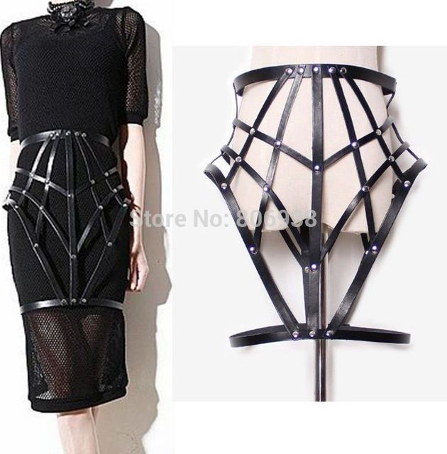 Black Halter Sexy Women Costumes Garter PU Suspender Funny Cross Leather bondage Harness Body Cage Bondag Skirt