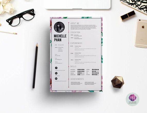 Floral 1 page reprendre modèle + lettre de motivation, lettre de référence / CV floral design / élégant reprendre moderne / reprendre / aquarelle reprendre