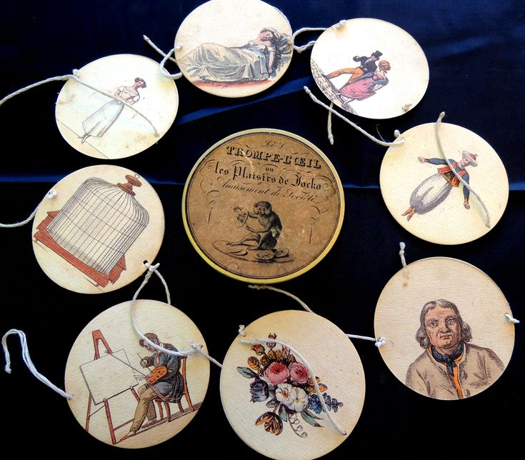 Trompe-l'oeil ou les plaisirs de Jocko, French, ca. 1837.  A thaumatrope is a small paper disc with two strings on either side. Half of a picture is on the front and the other half on the back. When you spin it between your fingers, the pictures appear to merge and form a complete scene. Graphic Arts Collection, optical devices.