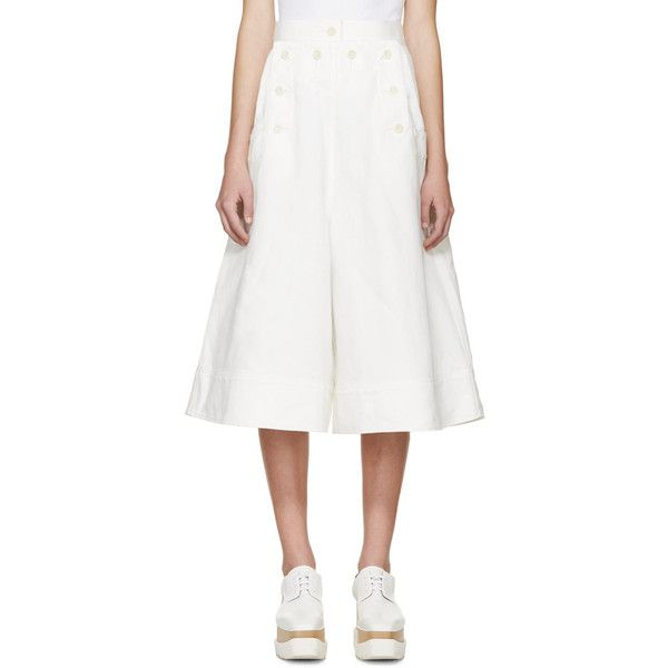 Sacai White Oversized Culottes (2.570 BRL) found on Polyvore featuring women's fashion, pants, capris, oversized pants, twill pants, white high waisted pants, oversized pocket pants and white pants