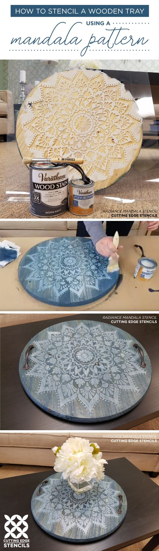 Cutting Edge Stencils shares how to craft a DIY wooden tray using the Radiance Mandala Stencil. http://www.cuttingedgestencils.com/prosperity-mandala-stencil-yoga-mandala-stencils-designs.html