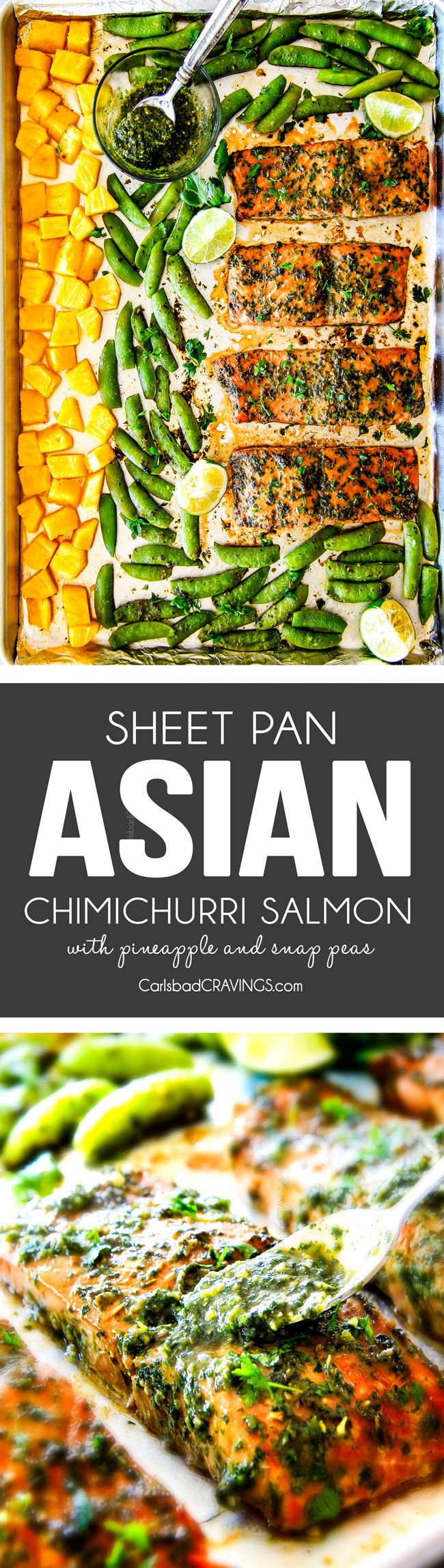 Easy SHEET PAN Asian Chimichurri Salmon is the most tender, flavorful salmon you will ever make - no joke! all cooked with pineapple and snap peas for a complete meal-in-one and the Cilantro Basil Chimichurri is out of this world! An easy, satisfying dinner that tastes totally gourmet!