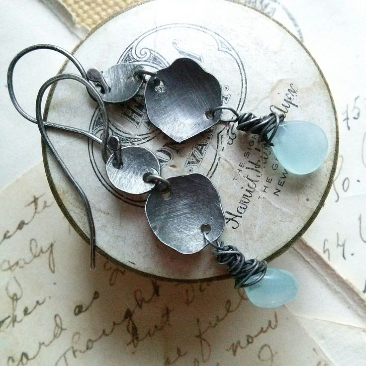 Rustic sterling and chalcedony earrings by Jennifer Valentine of Sacred Cake