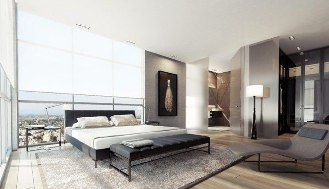 1 Black white gray bedroom decor 665x382 Inspiration Interior Modern Luxury Apartment