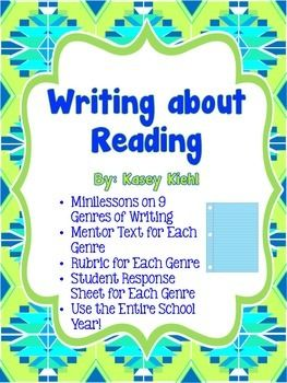 Writing about Reading Product: 9 genres (diary entry, letter, blog post, poetry, research question and answer, list, reader's theater, sketch and analysis, paragraph response).  Each genre includes a detailed minilesson plan, a presentation to display to the class, and mentor text, and a rubric.  ($)