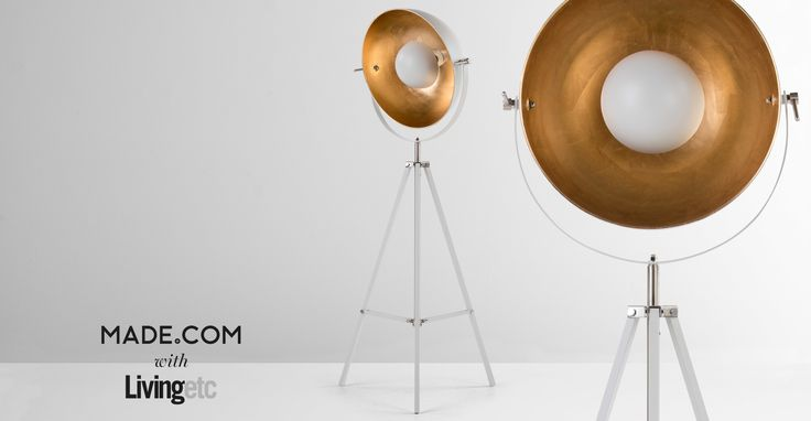 Chicago Tripod Floor Lamp, Muted Grey and Brass