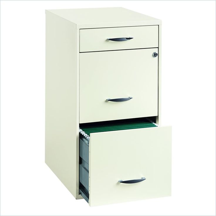 3 drawer steel file cabinet in white