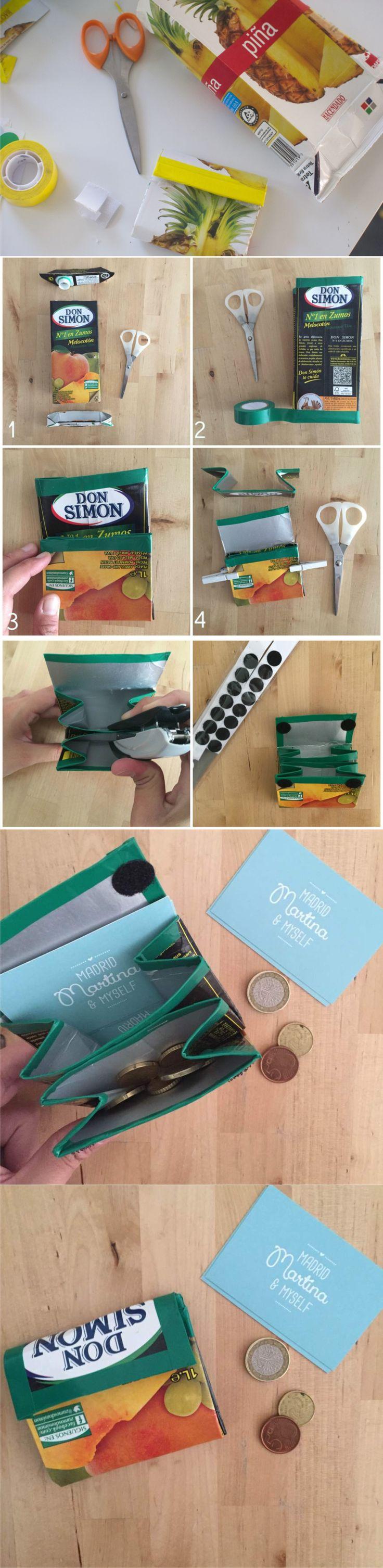 Monedero reciclando cartón / Vía https://madridmartinaandmyself.wordpress.com/