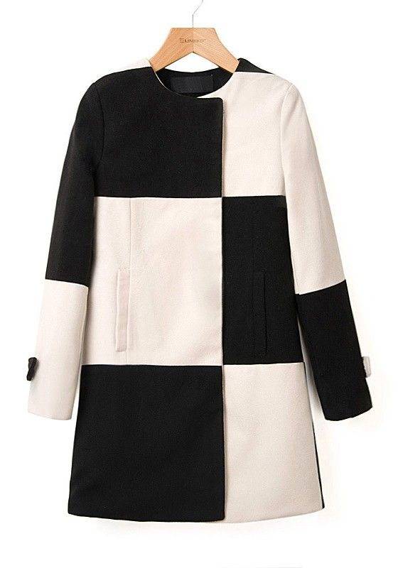 Multicolor Color Block Buttons Long Sleeve Wool Coat