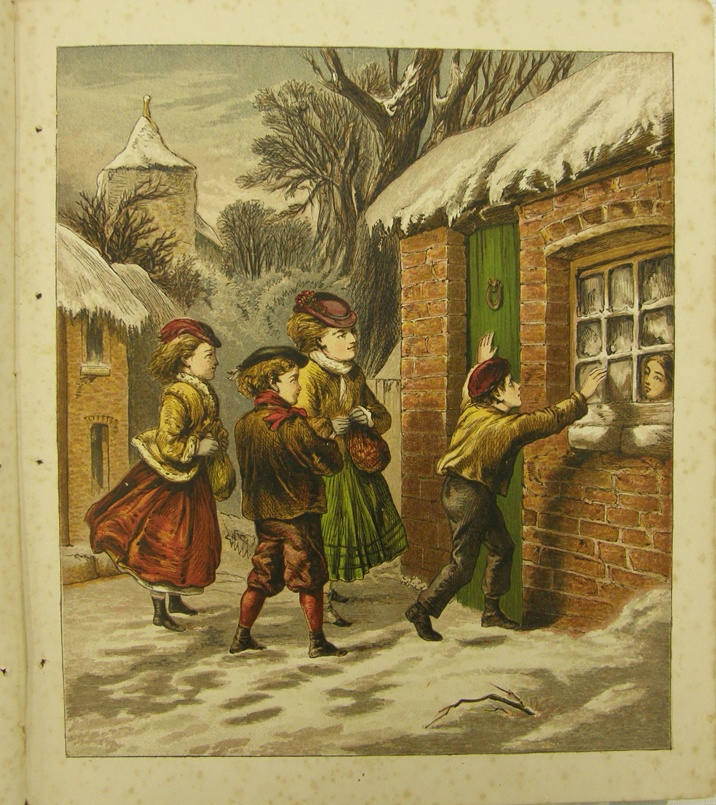 """""""He told his simple tale with wistful look, and pale / Father and mother gone / He now was left alone... / The children heard, and eager led / The poor boy to the Hall and fed.""""     from """"Little Paul's Christmas"""" illustrated children's book published by The Religious Tract Society London.  Printer: JM Kronheim & Co from """"New Series Toy Books"""", circa 1873. Collection of Auckland Museum, col.0806.2"""