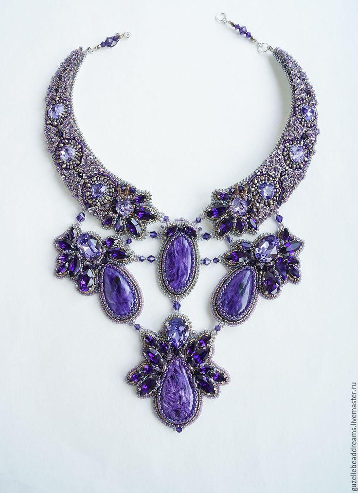 Beaded necklace / Купить Загадка Сирени - тёмно-фиолетовый, сирень, чароит, колье с чароитом, сиреневый, чароит