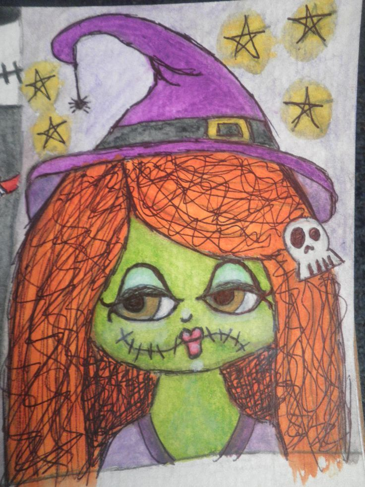 "Witch, water colour pencils & ink on 3""x4.5"" water colour paper. By Jackie Peniuk."