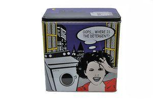 Burk för tvättmedel  Förvara ditt tvättmedel i denna roliga burk med handtag. H 20cm B 12cm  B 19CM 149:-  www.prydnadsrummet.se