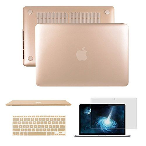 "Macbook Air 13"" CaseAnrain Soft-Skin See Through Plastic Hard Case Cover & Keyboard Cover & Screen Protector for Macbook Air 13.3"" NO CD-ROM (A1369/A1466)Gold"
