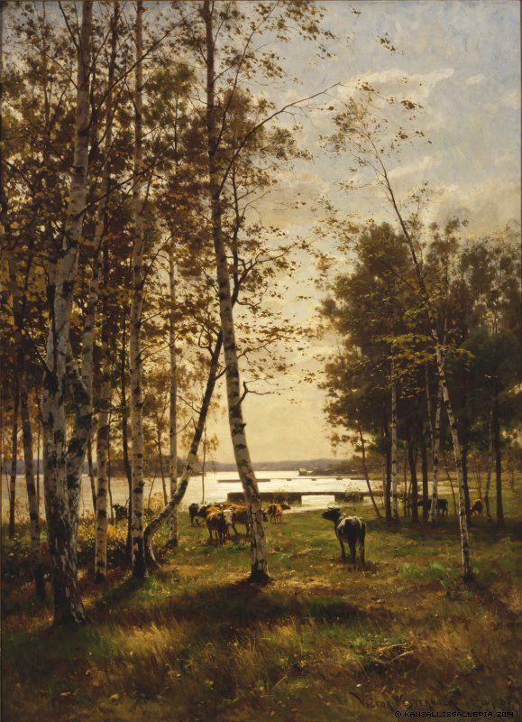Victor Westerholm (1860-1919) Lokakuun päivä Ahvenanmaalla / An October Day in Åland 1885 - Finland - Finnish cows