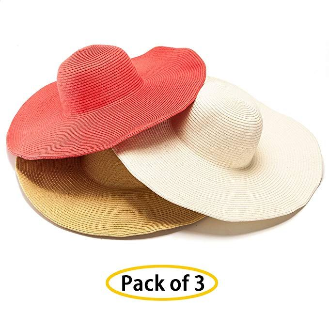 5ad89de7c1b5a Women s Sun Hat Wide Brim Straw Hat Packable Roll Up UPF50 Ladies Beach Hat  Chin Strap Pack of 3 Review
