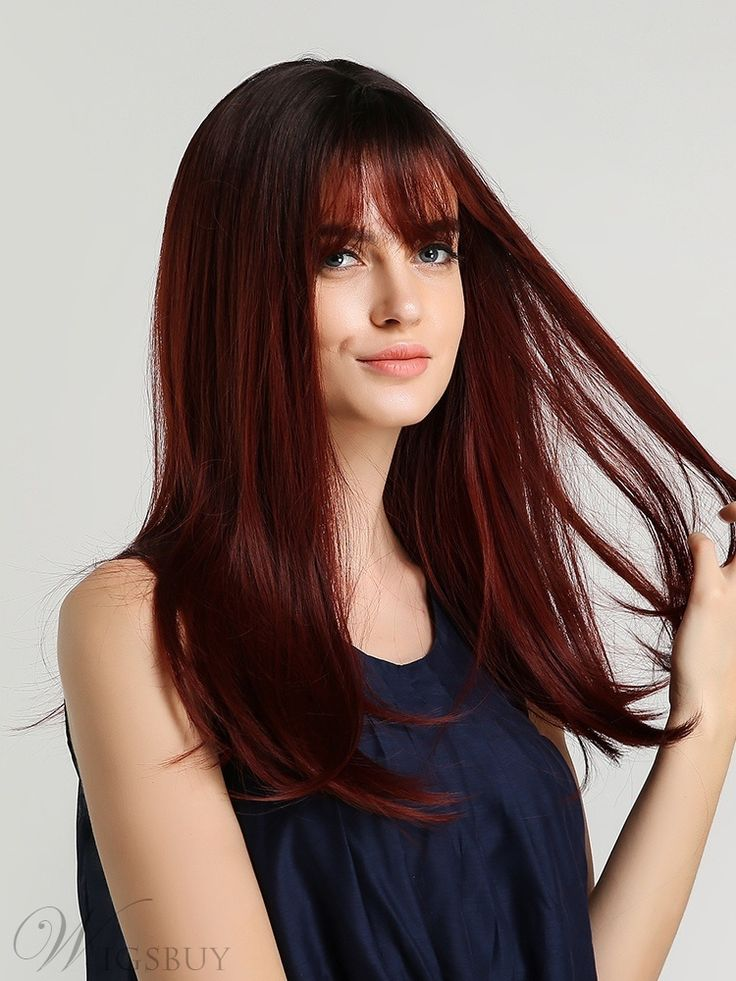Long Colored Synthetic Straight Hair With Bangs Wig 20