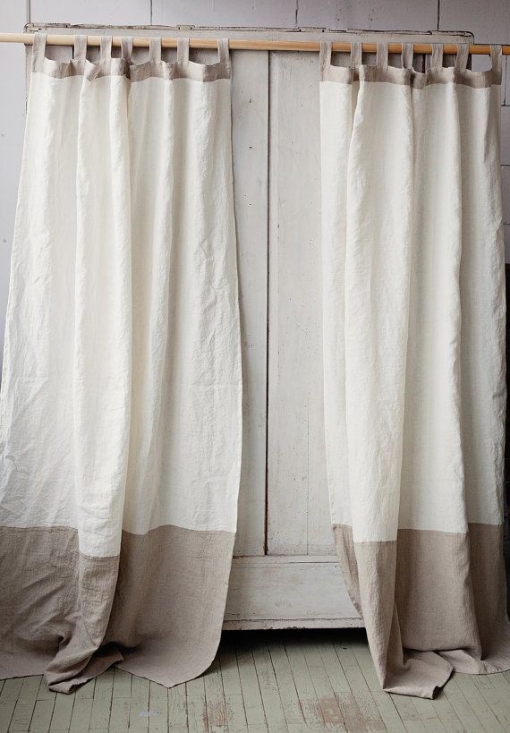 Tab top stonewashed linen curtain. Custom sewing.