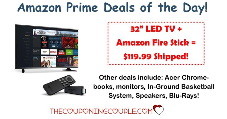 "HOT AMAZON PRIME DEALS!! Get a 32"" TV and Amazon Fire Stick for only $119.99 Shipped! Plus other HOT deals!  Click the link below to get all of the details ► http://www.thecouponingcouple.com/amazon-prime-deals-of-the-day/ #Coupons #Couponing #CouponCommunity  Visit us at http://www.thecouponingcouple.com for more great posts!"