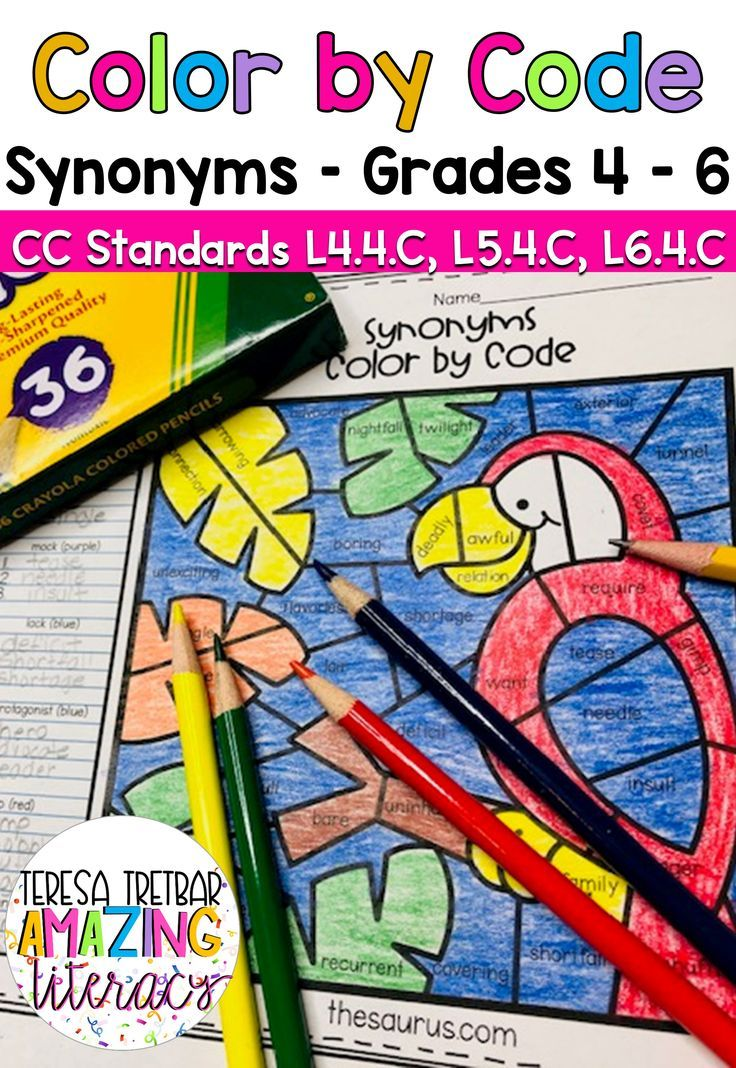 Synonyms Color By Code Educational Resources Teaching
