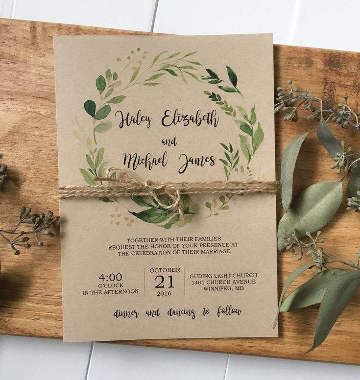 Modern greenery design on rustic kraft is perfect for your, rustic, chic wedding! Impress your wedding guests with this gorgeous & professionally designed c