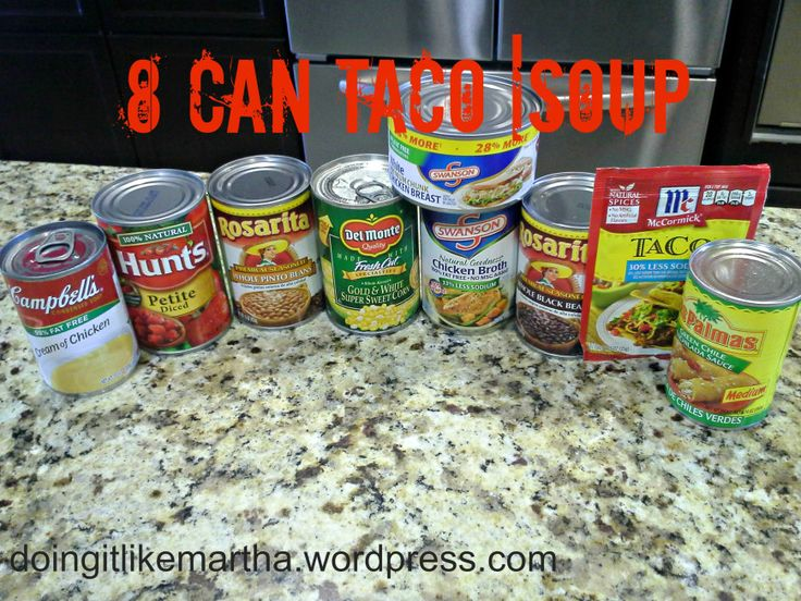 Here are the ingredients for the 8 can taco soup recipe. Instead of diced tomatoes I use a can of original rotel and puree it. Excellent substitution.
