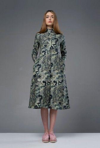 Rochie verde din bumbac cu imprimeu camuflaj GUERILLA GIRL