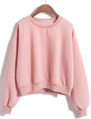 Love pink ! Love pink sweat shirt so much ! This crop round neck loose pink sweatshirt is my favorite one .Cotton fleece and no print design make a fresh look .Appreciate romwe .com to give the design i want !