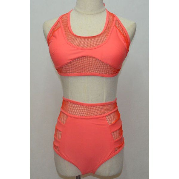 Alluring Women's U-Neck Open Back Bikini Bra and High Waisted See-Through Briefs #CLICK! #clothing, #shoes, #jewelry, #women, #men, #hats