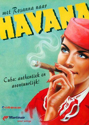 Havana, Cuba vintage travel poster  woman smoking a cigar Cuban cigars