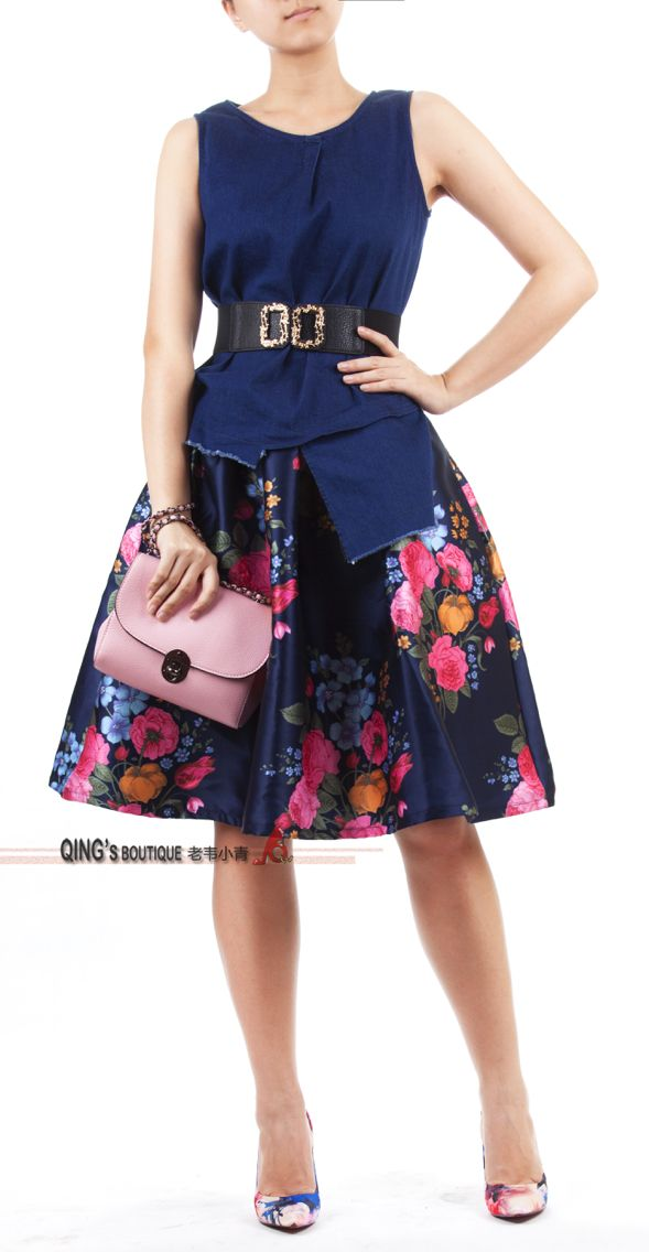 Asymmetrical denim  top with floral print satin skirt