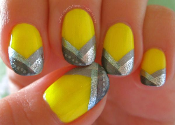 yellow stripe nails: Yellow Nails, Nails Art, Nails Design, Silver Nails, Spring Nails, Nails Ideas, Neon Nails, Stripes Nails, Neon Yellow