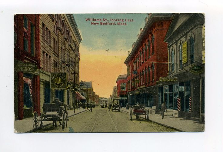 New Bedford MA Mass Williams Street view, tracks, people, tonsorial parlor 1915  | eBay