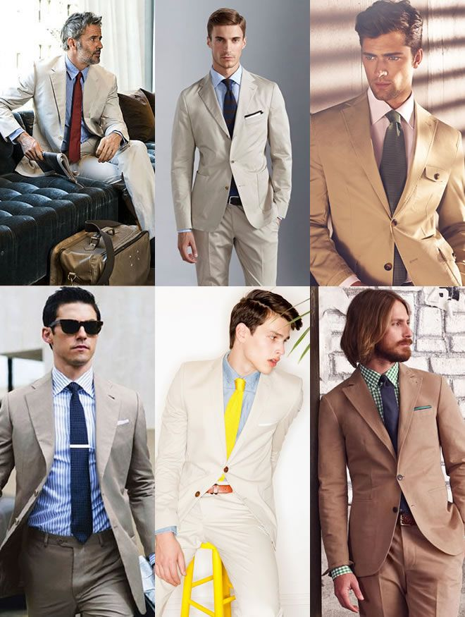 Men's Khaki Suits: A Spring/Summer Option  Khaki Suits With Pastel Shades Lookbook