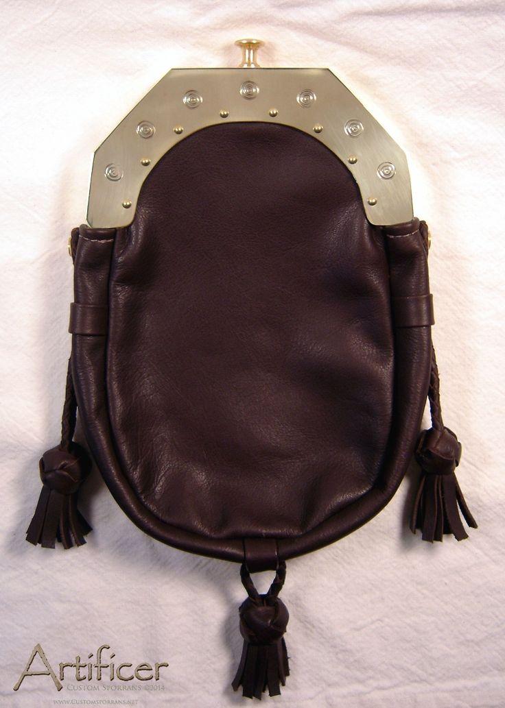 Custom Upscaled Brass Cantle Sporran. Functional hinged design, three Turk's Head Tassels. Bag in soft chocolate brown cowhide.