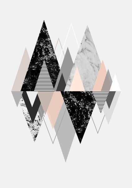 [ geometric gray, black, rose gold triangles ]
