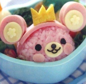 Kawaii bear bento - This little pink bear bento is just so adorable X3