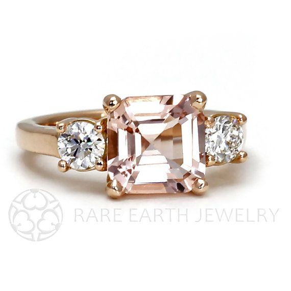 Asscher Morganite Engagement Ring 18K Morganite Ring 3 Stone Asher Conflict Free Diamond Custom Wedding Ring
