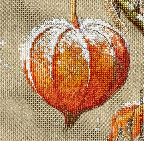 Купить Физалис - оранжевый, вышивка, Вышивка крестом, вышивка ручная, Вышитая картина, вышивка на заказ