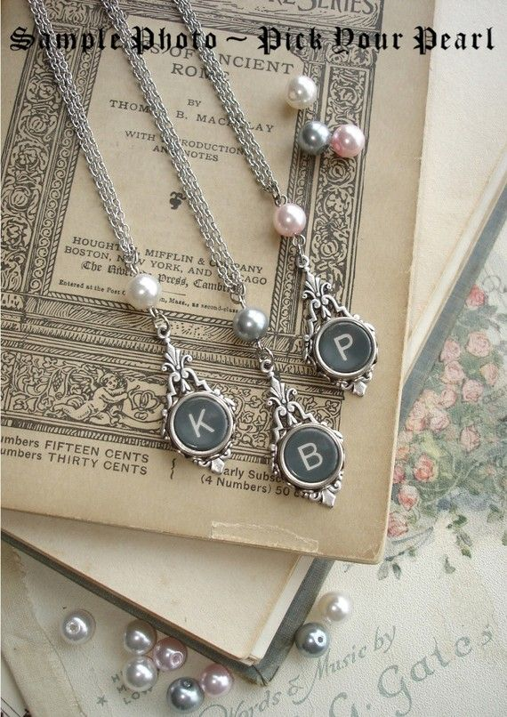 typewriter key jewelry.