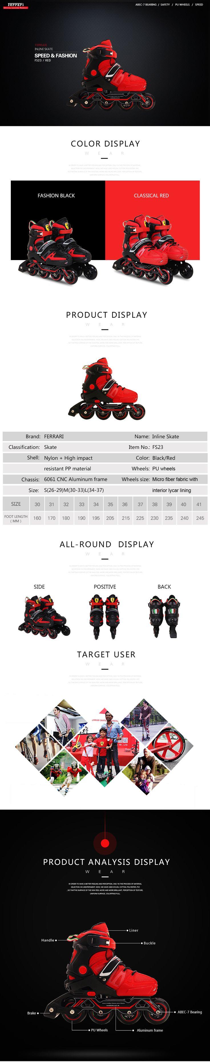 Ferrari FS23 Adjustable Inline Skate 6061 CNC Aluminum Frame Roller Skating High Rebound PU Wheels Sale - Banggood.com