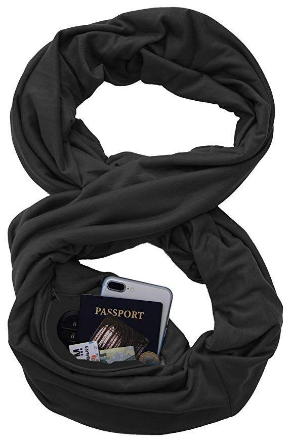 7198c8f857eb9 Pocket Scarf Black for Iphone Lipstick Passport Travel, Solid Color Infinity  Scarf Secret Hidden Zipper