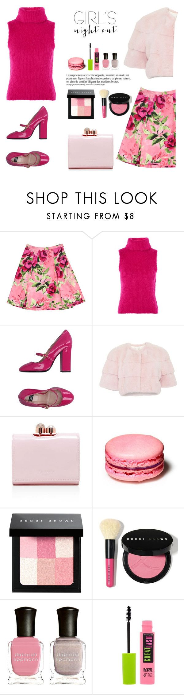 """Girls night out"" by gul07 ❤ liked on Polyvore featuring Love Moschino, Topshop, Boutique Moschino, Lilly e Violetta, Ted Baker, Anja, Bobbi Brown Cosmetics, Deborah Lippmann, Maybelline and girlsnight"