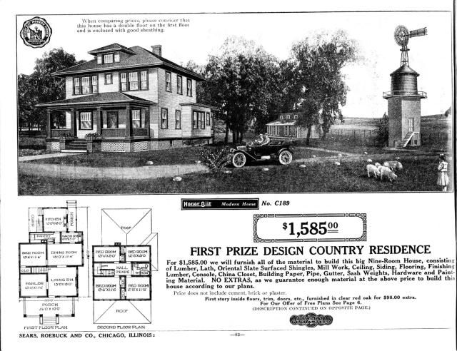 Foursquare House Plans - Is Your Old House From a Catalog?: Sears Catalog Modern Home No. C189, The Hillrose