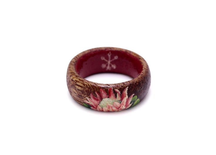 Hand painted King Protea on wooden ring by Huntress & Hunter. Limited edition miniature wearable art pieces. #wooden #ring #handmade