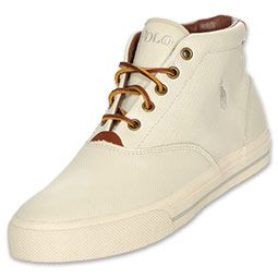 The Polo Ralph Lauren Men's Bolingbrook Shoes have a retro design - they're part sneaker and part lace-up loafer. The versatile men's shoes feature perforated leather upper for superior durability and breathability, plus a premium feel. The vintage hi-top shape and leather laces add a stylish twist to the laid-back shoes.