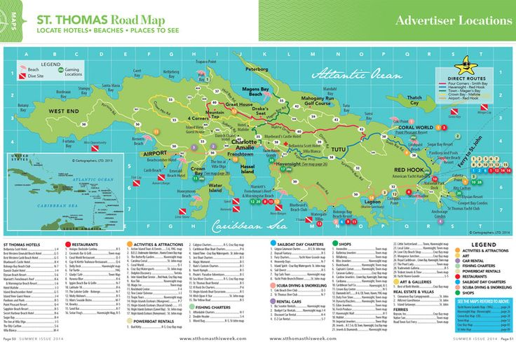 St. Thomas Island Road Map :: St. Thomas Maps :: Virgin Islands Vacation Guide