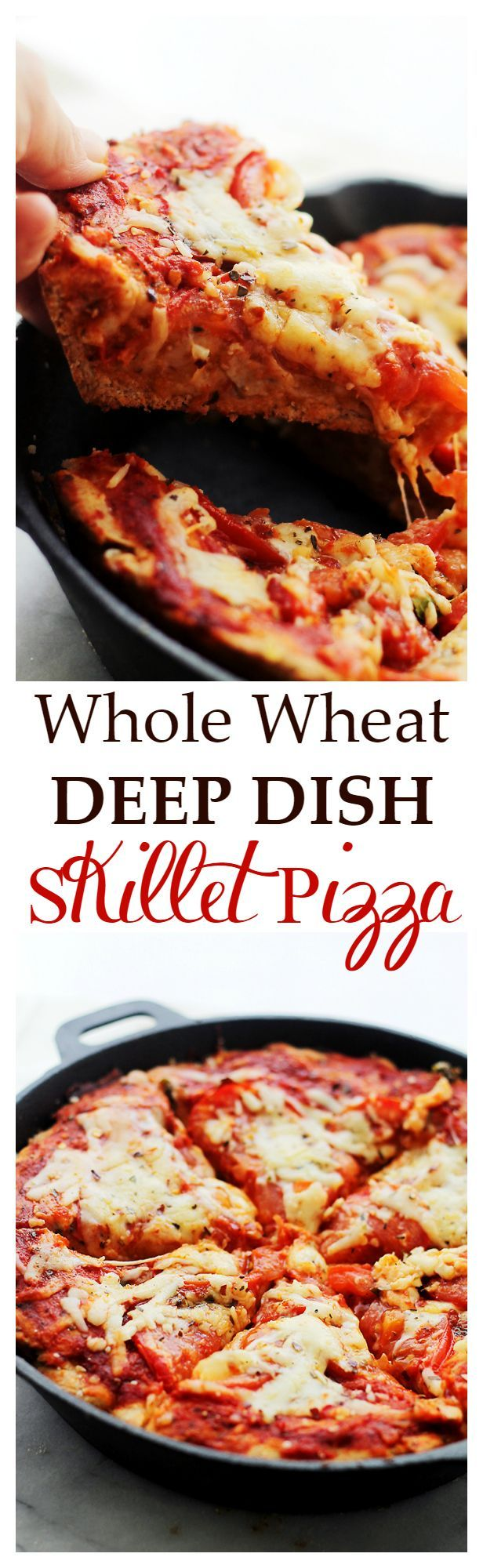 Whole Wheat Deep Dish Skillet Pizza - Soft, flavorful, homemade, MILE ...